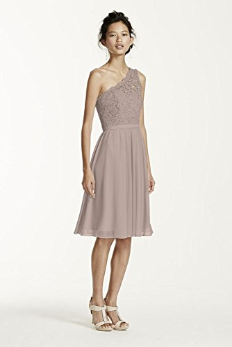 Short One Shoulder Corded Lace Bridesmaid Dress Style F15711, Biscotti, 4