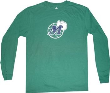 Dallas-Mavericks-Throwback-Vintage-Hardwood-Classics-Long-Sleeve-Green-Shirt