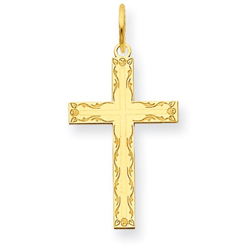 14K Laser Designed Cross Charm