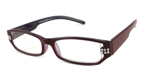 UrbanSpecs Readers Crystal Readers Reading Glasses - R4975 Crystal Burgundy