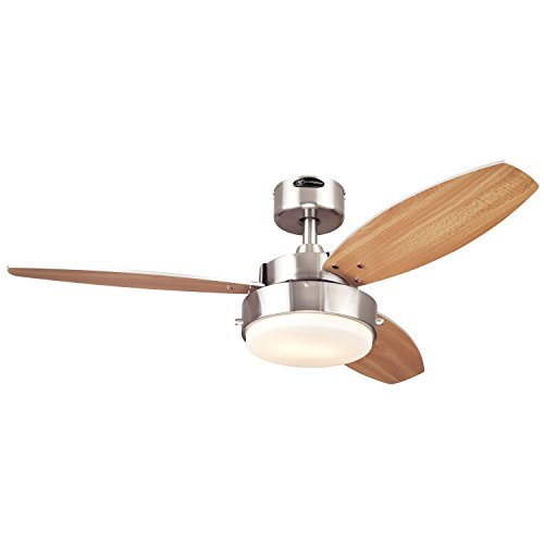 Westinghouse 7247300 Alloy Two-Light Reversible Three-Blade Indoor Ceiling Fan, 42-Inch, Brushed Nickel Finish with Opal Frosted Glass (42 In Ceiling Fan Brushed Nickel compare prices)