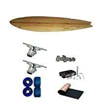 "Carve-One Blank Bamboo Fishtail Freeride Longboard Complete 40"" W/ Original 200mm Trucks Blue Slide Wheels"