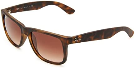 Ray-Ban RB4165 Justin Rectangular Sunglasses, Brown (710/13 Light Havana Rubber)