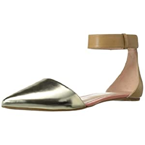 Enzo Angiolini Women's Chadler Ballet Flat,Natural/Gold Leather,7.5 M US