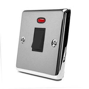 20A Double Pole Switch - Polished Chrome Classic - Black Insert Plastic Switch - DP Water Heater Switch with Neon Indicator