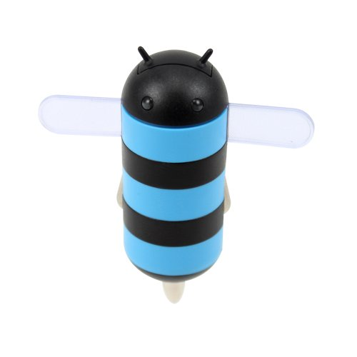 Gen HoneyDru Android themed 2A USB Car Charger with Micro-USB Coil Cable - Blue/Black (Light Up Car Chargers For Android compare prices)