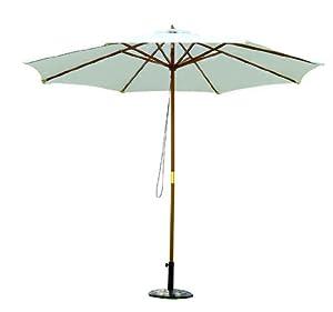 holz sonnenschirm holzschirm gartenschirm balkonschirm 3m wei neu. Black Bedroom Furniture Sets. Home Design Ideas