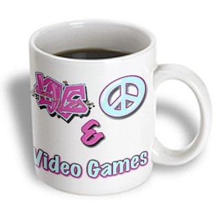 Blonde Designs Love Peace And In Pastel Blue And Purple - Love Peace And Video Games Pastel Blue And Purple - 11Oz Mug (Mug_122488_1)