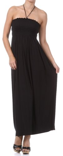FOSolidJerseyI-7931 Comfortable Jersey Feel Solid Color Smocked Bodice String Halter Maxi / Long Dress - Black / Large