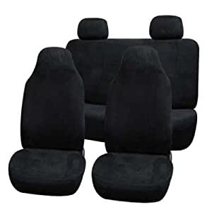fh fb105114 full set classic suede car seat covers w split bench black color fit. Black Bedroom Furniture Sets. Home Design Ideas