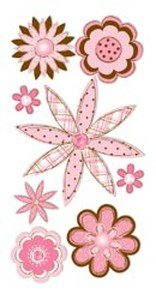Essentials Large Dimensional Stickers: Pink & Brown Sketch Flowers