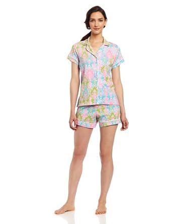 BedHead Pajamas Women's Classic Knit Short Sleeve, Multi-Colored, X-Large