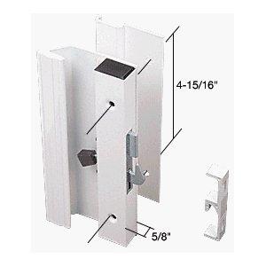 "Sliding Glass Patio Door Handle Set, Hook Style, Surface Mount, 1"" Low Handle Profile, 4-15/16"" Screw Holes, White front-959026"