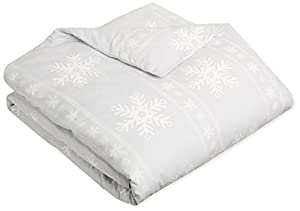 AmazonBasics Printed Lightweight Flannel Duvet Cover - Full/Queen, Snowflake Grey