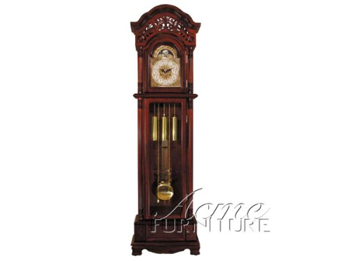 Grandfather Clock with Beveled Glass in Cherry Finish Acs001430