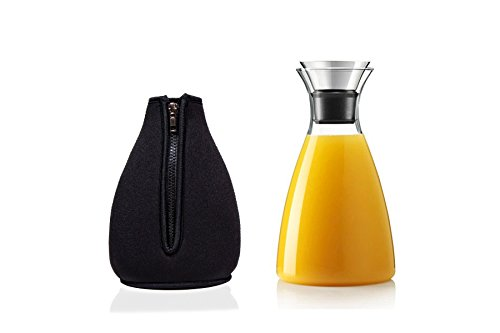 Premium 50 Oz Glass Carafe with Drip Free Flip-Top Lid and Black Cozy for Decanting and Serving Wine, Infused Water, Iced Tea, Coffee, or Juice. Borosilicate Glass Pitcher that can serve any drinks (Metal Pouring Container compare prices)