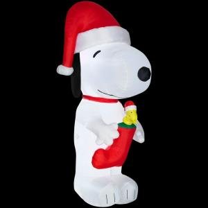CHRISTMAS DECORATION LAWN YARD INFLATABLE PEANUTS SNOOPY WITH WOODSTOCK IN A STOCKING 10' TALL