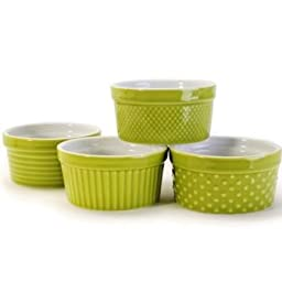 BIA Cordon Bleu 5 Ounce Stoneware Ramekin, Set Of 4 Assorted Texture - Green