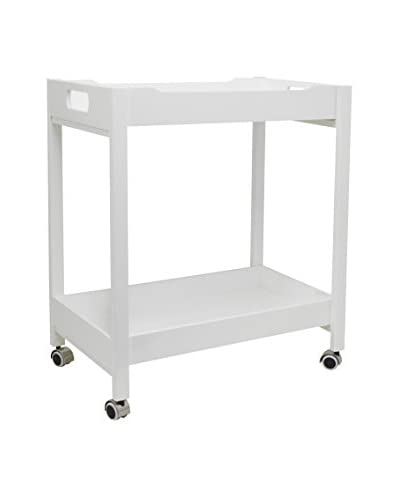 Three Hands Wood Bar Cart, White As You See