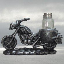 Hells Chopper Skull Motorcycle Salt and Pepper Set