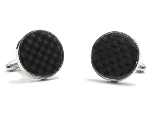 Round Carbon Fiber Cufflinks