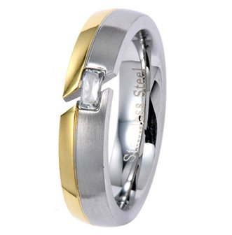 5MM Polished Stainless Steel Wedding Ring with Gold Color Plated Edge and Additional Radiant CZ in Center For Women