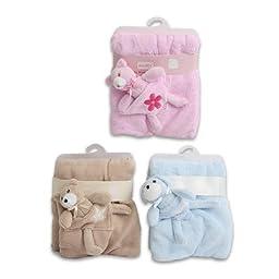 Bunchkin Baby Blanket W/ Plush Toy (brown)