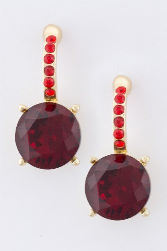 Karmas Canvas Round Crystal Earrings (Wine)