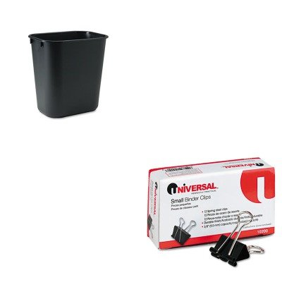 KITRCP295500BKUNV10200 - Value Kit - Rubbermaid-Black Soft Molded Plastic Wastebasket, 13 5/8 Quart (RCP295500BK) and Universal Small Binder Clips (UNV10200) kitbwkk5000rcp750411 value kit rubbermaid autofoam touch free skin care system rcp750411 and boardwalk premium half fold toilet seat covers bwkk5000