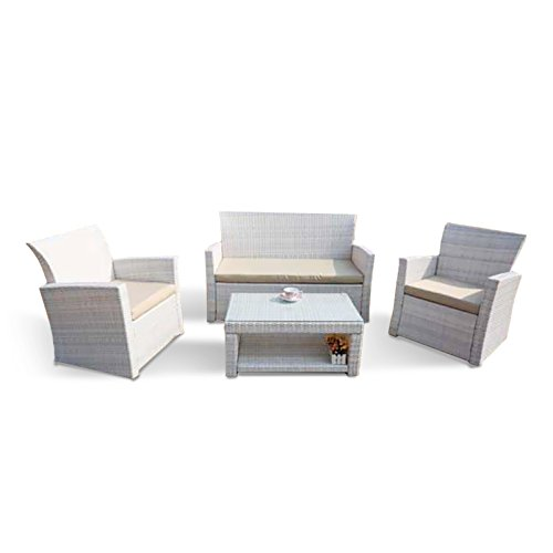 My Garden M0416-08 Floor Salottino Set Sofa Giardino, 130x63x78 cm, Bianco