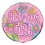 "18"" Pink Birthday Girl Butterflies Birthday Foil Balloon - Birthday Balloon - 1"