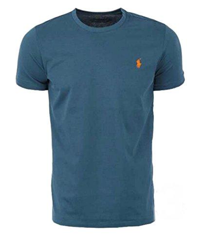 41381 Polo Ralph Lauren uomo maglia maniche corte custom fit T-shirt girocollo (XXL, Blu/Blue)