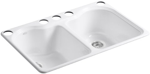 KOHLER K-5818-5U-0 Hartland Double Equal Undercounter Sink with Five-Hole Faucet Drilling, White (Cast Iron Sinks Kitchen compare prices)