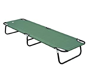 Outsunny Deluxe Folding Military-style Camping Cot, Green
