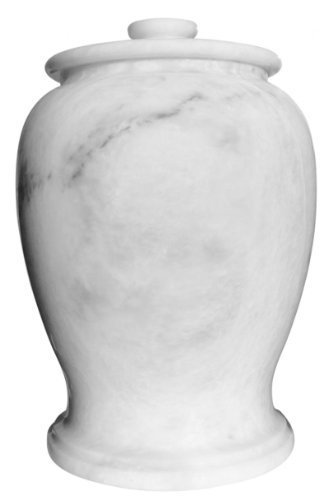 Urnporium Marble Serenitude Adult Funeral and Cemetery Cremation Urn for Human Ashes, White (Urns Marble compare prices)