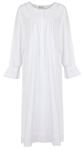 The 1 for U 100% Cotton Long Sleeve Vintage Design Nightgown - Bettie - White 0