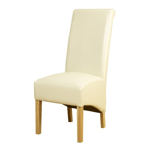 1home Leather Dining Chairs Scroll Back Oak Legs Furniture 3 Pairs (Ivory)