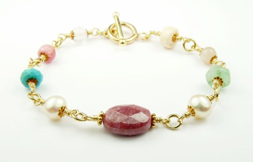 Damali Chakra Intention Bracelets 14K 14K Self-Esteem Bracelet w/ Rhodonite, Rose Quartz, Turquoise, Opal, and Moonstone in Sterling Silve - Medium 7.5 In