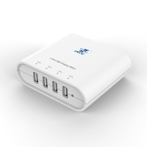 Ixcc ® Quad Usb 30W 6.2A White High Capacity Fast Ac Charging Station 4 Port High Speed Charger