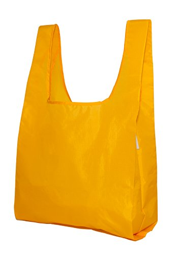 reusable-grocery-shopping-bag-totes-foldable-with-pouch-100-ripstop-nylon-by-de-bagg-yellow-x5