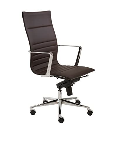 Euro Style Kyler High Back Office Chair, Brown
