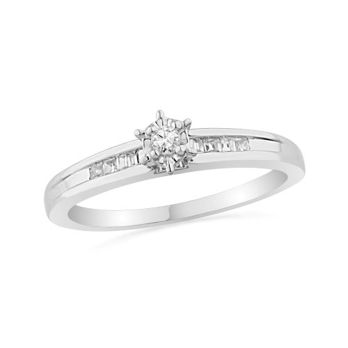 10KT White Gold Baguette And Round Diamond Promise Ring (1/10 cttw)