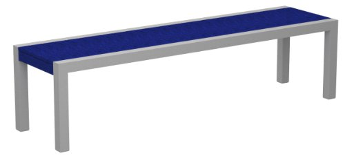 Poly-Wood 3800-11PB Euro Dek Bench, Silver Aluminum Frame, Pacific Blue