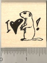 I love my Prairie Dog Rubber Stamp