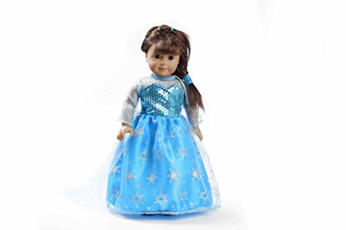 Teenitor(TM) Light Blue Shinning Dress With Snow Pattern Fits 18 Inch Girl Dolls (Shipping By FBA) - 1