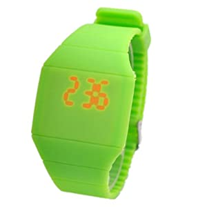 Magic Hidden Touch Screen Red LED Digital Watch Men Women Sport Cuff Wrist Watch Green