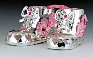 Baby Shoes Silver Plated Swarovski Crystal Ornament Grl Picture