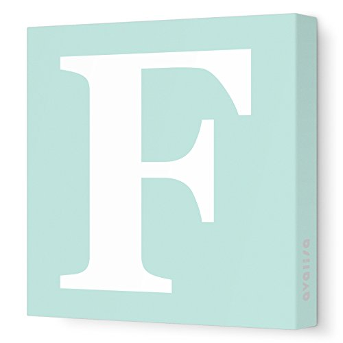 "Avalisa Stretched Canvas Upper Letter F Nursery Wall Art, Seagreen, 12"" x 12"""