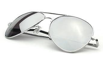 Klassische Pilotenbrille Aviator Fliegerbrille Spiegelbrille Sonnenbrille Brille silber verspiegelt