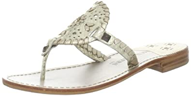 Jack Rogers Women's Georgica Thong Sandal,Platinum Snake,6 M US